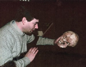 Author Michael Kauffman with the skull of Lewis Powell (used by permission)