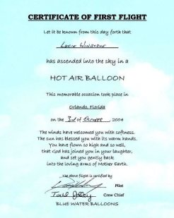 Blue Water Balloons Certificate