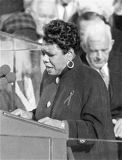 "Maya Angelou reads her poem ""On the Pulse of Morning"" at President Bill Clinton's inauguration, 1993."