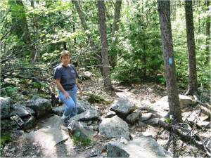 Joyce hiking Mount Battle in Camden, Maine.