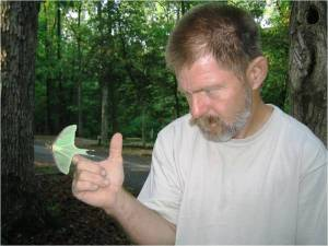Wiley with a luna moth.